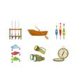 fishing sport equipment set fishing rod wooden vector image