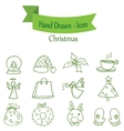 Green Christmas icon set collection stock vector image