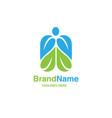 green leaf with shape human figure logo vector image vector image