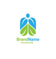 Green leaf with shape of human figure logo vector image