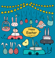 hand drawn doodle happy easter day set vector image vector image