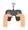 hand user with drone remote control icon vector image vector image