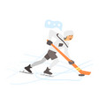 hockey player on ice vector image vector image