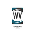initial letter wv creative abstract logo template vector image vector image
