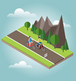 isometric countryside summer road woman and man vector image vector image