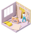 isometric worker plastering wall vector image vector image