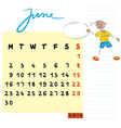 june 2014 kids calendar vector image vector image