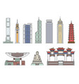 landmark hong kong building icon set isolated on vector image