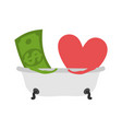 love and money in bath selling love dollar and vector image vector image