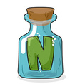 N in magical bottle Letter in a bottle for vector image