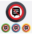 No Chat sign icon Speech bubble symbol vector image vector image