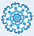 octagonal blue and white snowflake on light blue vector image vector image