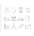 oil and petrol industry objects icons vector image vector image