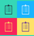 pop art clipboard with checklist icon isolated on vector image vector image