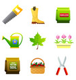 set of nine color icons - saw rubber boots vector image vector image