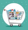 supermarket shopping trolley cartoon vector image