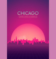 travel poster futuristic retro skyline chicago vector image vector image