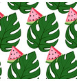 tropical pattern with watermelon and leaves vector image