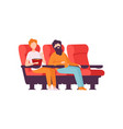 two men sitting in cinema theatre with popcorn and vector image vector image