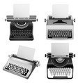 typewriter machine old mockup set realistic style vector image vector image