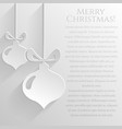 white background with flat christmas balls card vector image