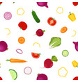 whole slices vegetables seamless pattern in flat vector image vector image