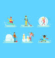 winter activities set people snowboarding vector image vector image