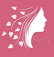woman face silhouette - beauty logo or emblem with vector image vector image