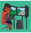 Woman playing video game with gaming wheel vector image vector image