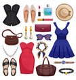 Women accessories icon set vector image