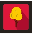 Yellow autumn tree icon flat style vector image vector image