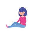 young woman cartoon character sitting on white vector image
