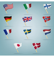 Moving flags set vector image