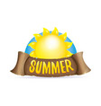 summer label with orange sun vector image
