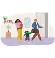 angry man leaving family after conflict woman and vector image vector image