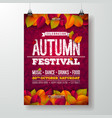 autumn party flyer with falling vector image vector image