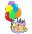 birthday cake with balloons vector image vector image