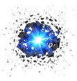 Blue flaming meteor explosion isolated on white vector image vector image