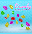 candy lollipops on isolated on a blue background vector image vector image