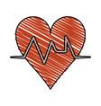 color crayon stripe cartoon shape heart with life vector image vector image