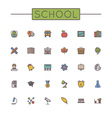 Colored School Line Icons vector image vector image