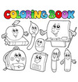 coloring book school cartoons 5 vector image vector image