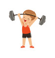 cute boy lifting heavy barbell kids physical vector image vector image