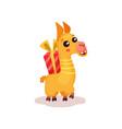 cute happy llama alpaca cartoon character with vector image