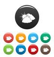 dark cloudy sun icons set color vector image vector image