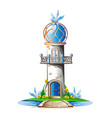 fairytale castle with a blue domed roof vector image vector image
