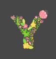 floral summer letter y flower capital wedding vector image