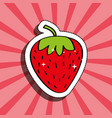 fresh strawberry delicious fruit drawing sticker vector image vector image