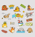 funny cartoon cat and lettering sticker set vector image