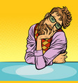 funny romantic thinker man hipster vector image vector image